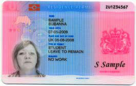 Sample of Identity Card for UK