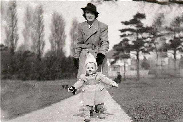 John Walking With Mom
