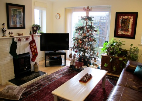 An English - American Living Room At Christmas