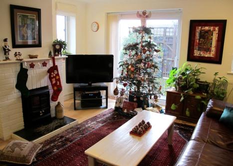 An English - American Living Room At Christmas