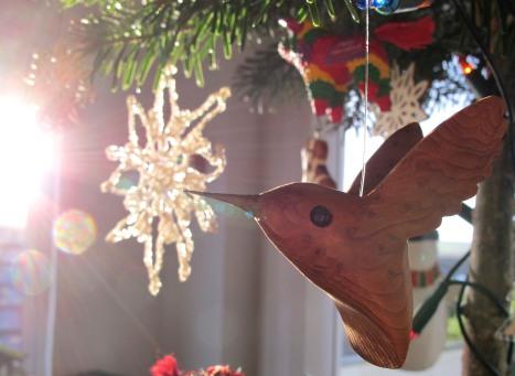 Wooden Hummingbird Christmas Ornament, Crocheted Snowflake, Christmas Tree