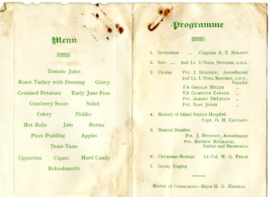 Christmas Menu 1942 152nd Station Hospital